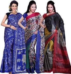 Ishin Printed Fashion Art Silk Sari Pack Of 3