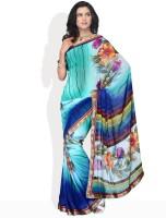 Vichitra Floral Print Georgette Sari