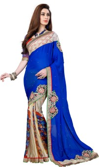Texclusive Self Design Embroidered Embellished Georgette, Satin Sari