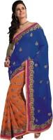 Ashika Printed Embroidered Embellished Viscose, Chiffon Sari