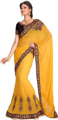Fabdeal Printed Embroidered Embellished Net Sari available at Flipkart for Rs.5829