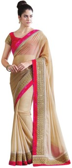 Sareeka Sarees Plain, Embriodered Bollywood Satin Sari
