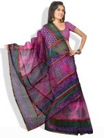 Shreejee Printed, Striped Synthetic Sari