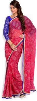 Moiaa Printed Bandhej Georgette Sari
