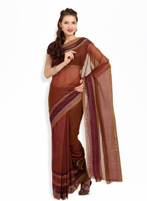 Satrang Satrang Solid Polycotton Sari (Brown)