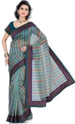 Saree Swarg Checkered, Striped Embellished Net Sari