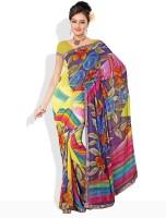 Dori Geometric Print, Striped, Printed Synthetic Sari