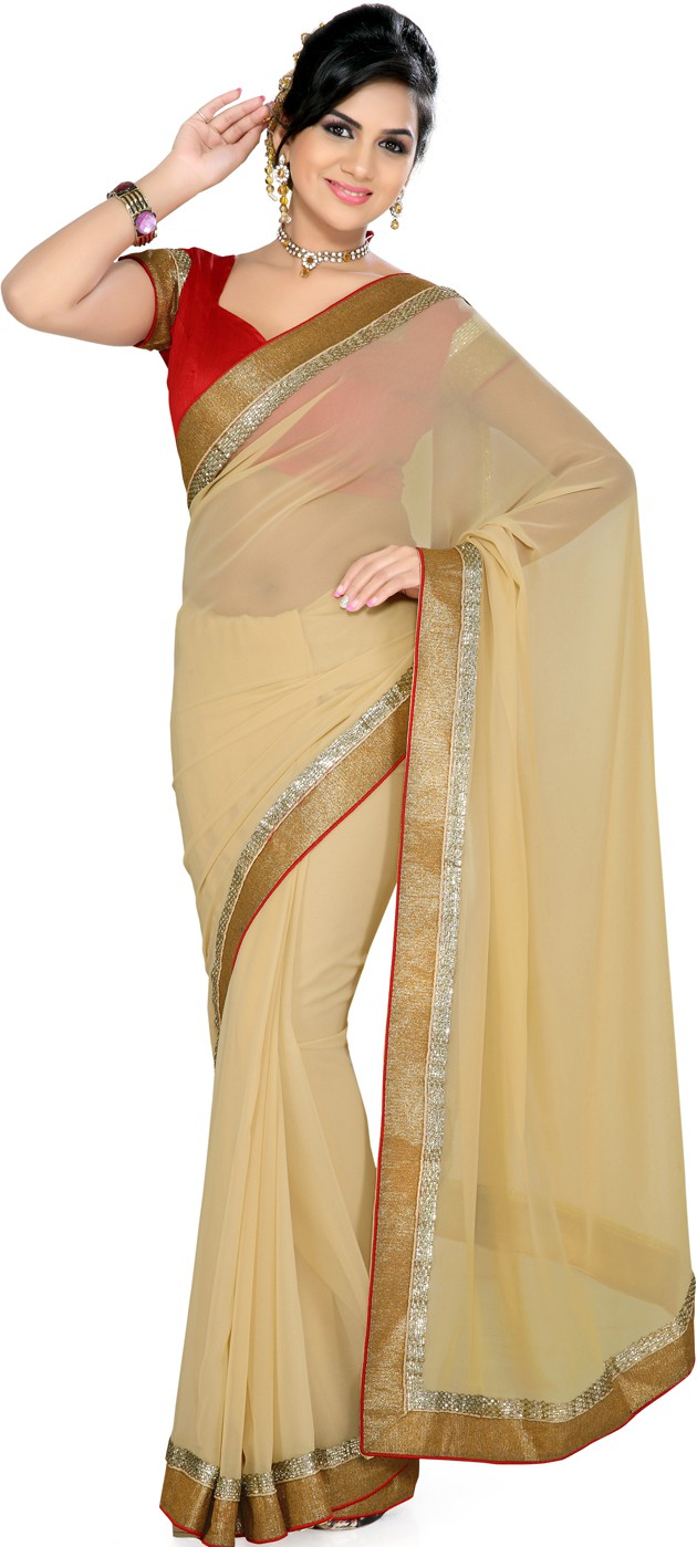 Saree Swarg Printed Fashion Georgette Sari - Buy Beige ...