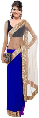 Fabulous Self Design Fashion Net Sari (Blue)