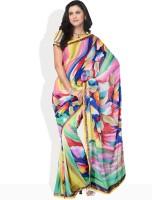 Vichitra Floral Print Embellished Georgette Sari