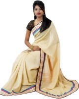 Hawai Printed, Solid Embroidered Cotton Sari