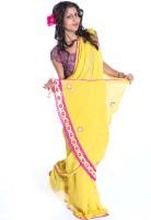 moKanc Floral Print Embellished Georgette Sari