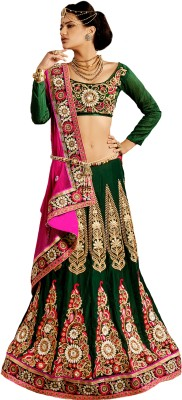 Morli Morli Self Design Lehenga Saree Silk Sari (Green)