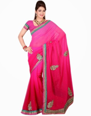 Saree Swarg Striped Chiffon Sari