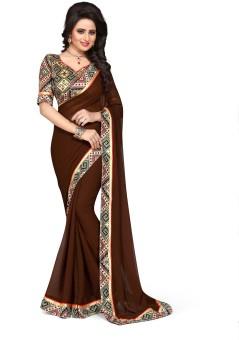 Oomph! Printed Bollywood Chiffon Sari Brown
