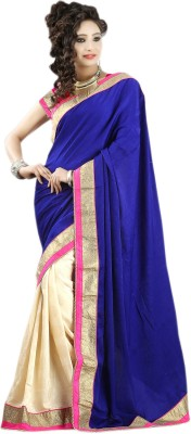 Velvet SB Creation Self Design Fashion Velvet Sari (Blue)