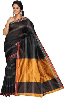 Pavechas Striped Banarasi Cotton, Net, Silk Sari