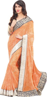Elijaah Elijaah Solid Fashion Georgette Sari (Multicolor)