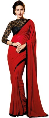 Fashion Priya Fashion Self Design Bollywood Georgette Sari (Red)