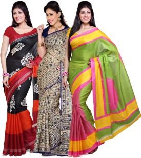Ishin Printed Fashion Art Silk Sari (Pack Of 3)