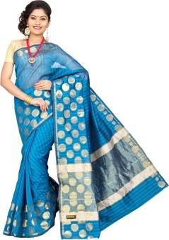 Pavechas Polka Print, Striped Banarasi Silk Cotton Blend Sari