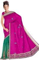 Utsav Solid Embroidered Embellished Chiffon Sari