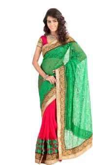 RekhaManiyar Fashions Self Design Fashion Net, Brasso, Georgette Sari