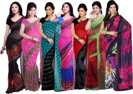 Ishin Designer Studio Printed Fashion Georgette Sari Pack Of 7