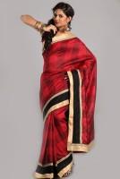 Aparnaa Checkered Embroidered Embellished Art Silk Sari