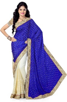 Preeti Solid, Self Design Bollywood Machine Crepe, Jacquard, Net Sari