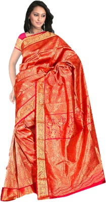 Fashion MGS Printed Fashion Silk Sari (Orange)