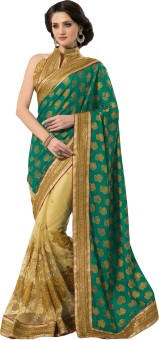 M.S.Retail Self Design Embroidered Embellished Viscose, Net Sari