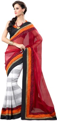 Fabdeal Striped Embroidered Embellished Net Sari available at Flipkart for Rs.5329