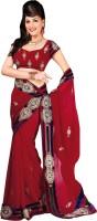 Cbazaar Floral Print Embroidered Embellished Viscose Sari