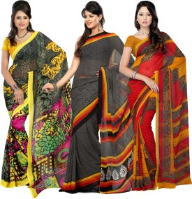 Fabdeal Floral Print, Striped, Geometric Print Fashion Georgette, Chiffon Sari Pack Of 3
