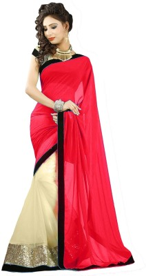 Nj Fabric Self Design Bollywood Georgette, Net Sari (Multicolor)