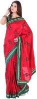 Sareez Floral Print, Geometric Print Silk Sari