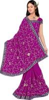 Khazana Bazar Floral Print Embroidered Embellished Georgette Sari