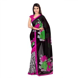 Nanda Silk Mills Floral Print Daily Wear Synthetic Sari