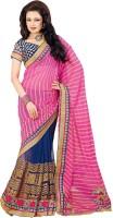 Bhavi Striped Embroidered Embellished Chiffon Sari