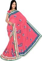 Khazana Bazar Floral Print Embroidered Embellished Chiffon Sari