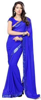 Fashion Priya Fashion Solid Bollywood Georgette Sari (Blue)