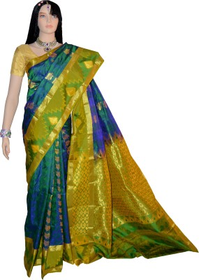 Lifestyle Lakshmi Lifestyle Self Design Kanjivaram Handloom Silk Sari (Multicolor)