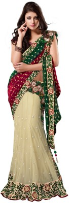 Fabdeal Printed Embroidered Embellished Net Sari available at Flipkart for Rs.7439