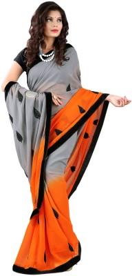 Fashion Hi-Fashion Solid Fashion Georgette Sari (Grey)