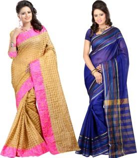 Sanju Sarees Self Design Chettinadu Kota Cotton Sari Pack Of 2