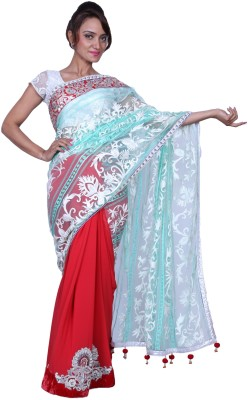 Fashion Noshaba Self Design Fashion Net, Georgette Sari (Multicolor)