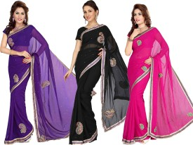 Silkbazar Self Design Fashion Georgette Sari (Pack Of 3)
