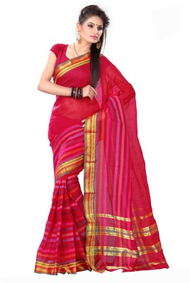 Mrsaree Printed Fashion Handloom Cotton Sari (Red)