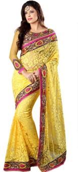 Sareeka Sarees Floral Print Bollywood Brasso Sari